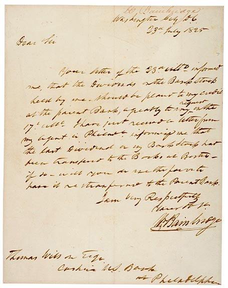 2003: WILLIAM BAINBRIDGE, 1825 Signed Letter