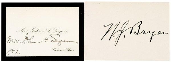 2004: WILLIAM JENNINGS BRYAN Autographed Card