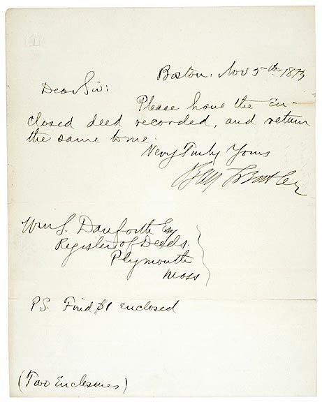 2006: BENJAMIN F. BUTLER, Signed Note 1873