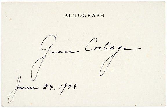 2010: GRACE COOLIDGE Signature, 1946
