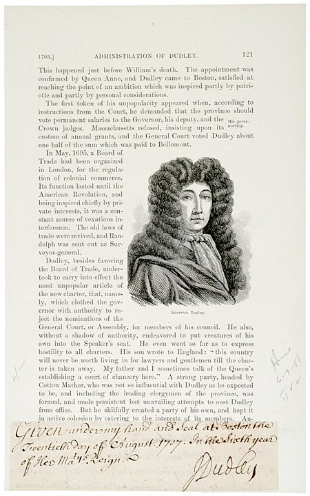 2011: JOSEPH DUDLEY, 1707 Cut Document Signed