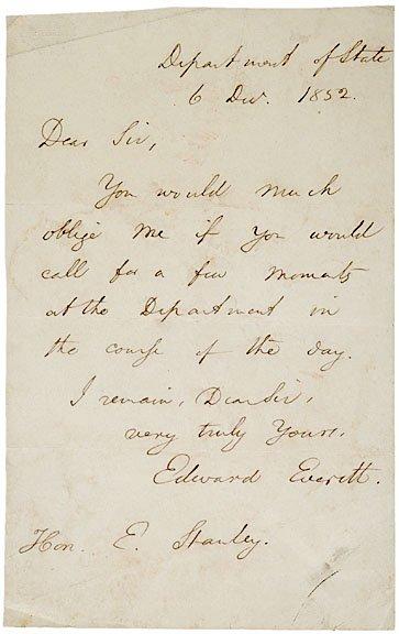 2015: EDWARD EVERETT Autograph Letter Signed, 1852