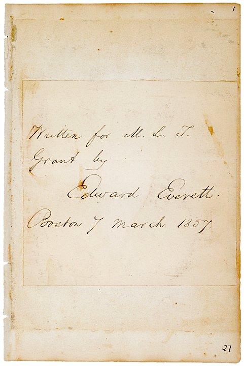 2016: EDWARD EVERETT, Autograph Note, 1857