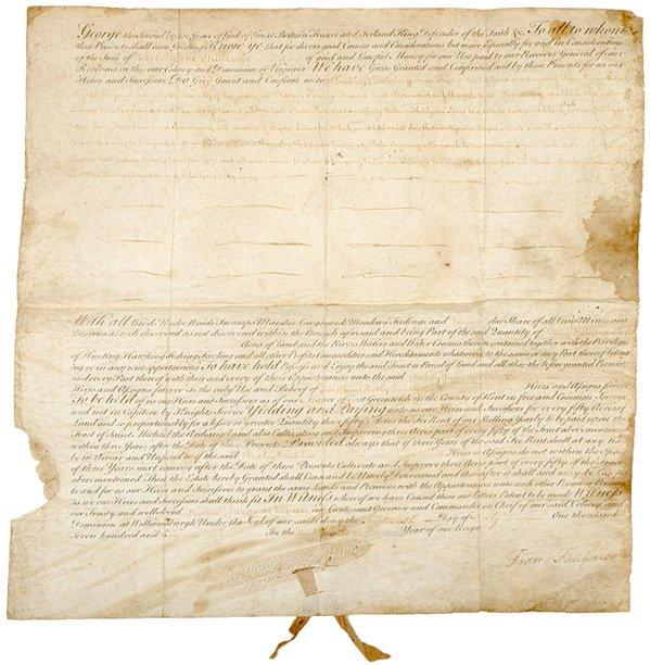 2017: Virginia Land Grant Signed FRANCIS FAUQUIER, 1760