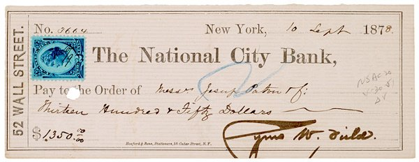 2018: Signed Check, CYRUS W. FIELD, Industrialist, 1878