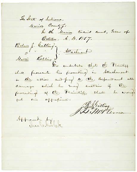 2021: RICHARD J. GATLING Signed Document 1857