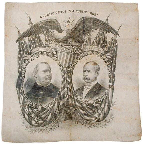 2185: Cleveland and Stevenson Campaign Bandana, 1892