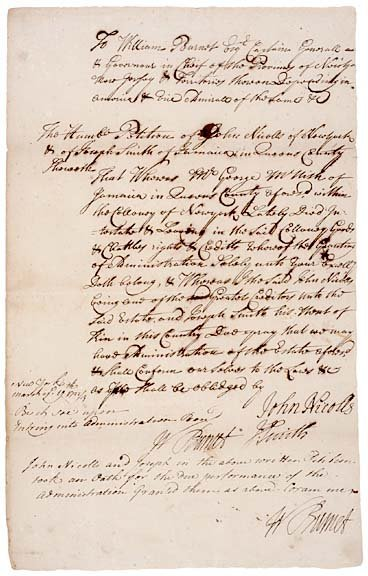 3002: WILLIAM BURNET, Twice Signed Document - 1723