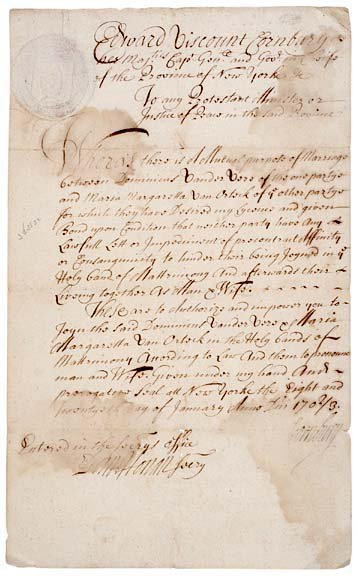 3007: Viscount Cornbury Signed, 1703 Marriage License