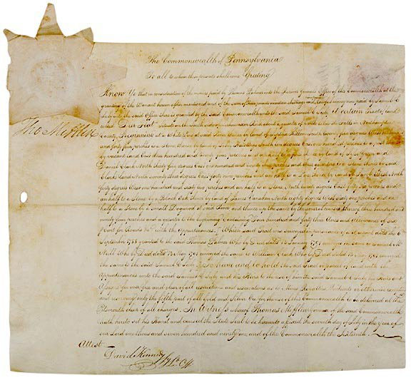 3010: THOMAS MIFFLIN Signed Document 1790