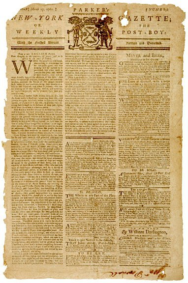 3024: NEW YORK GAZETTE, Governor Pownhall Personal Copy