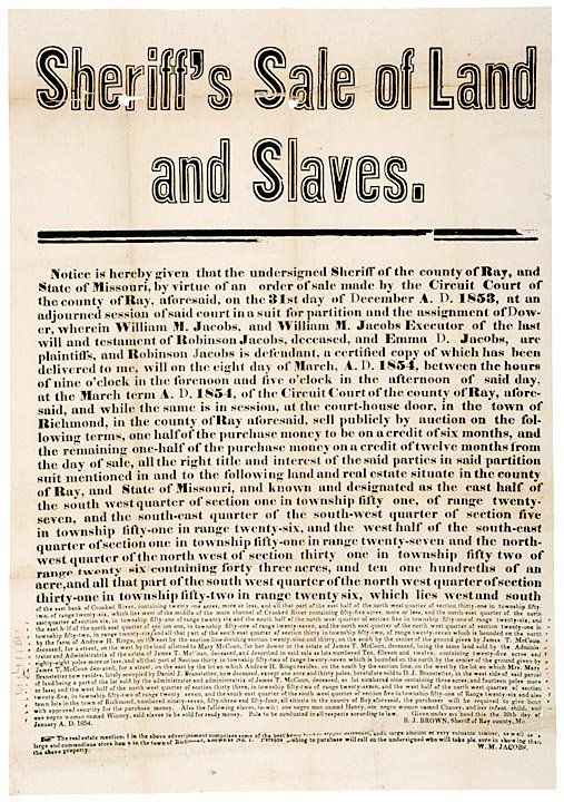 3145: Broadside Print: Sheriff Sale of Land and Slaves