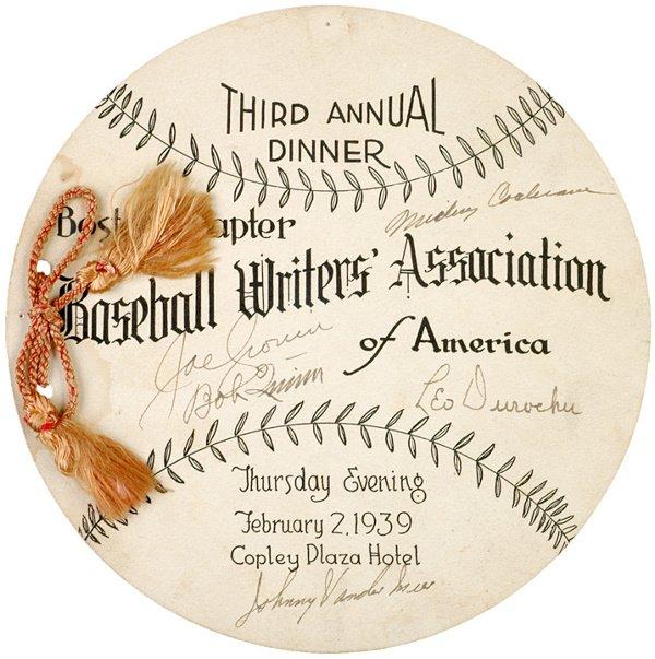 4: BASEBALL HALL OF FAME MEMBERS, Signatures, 1939
