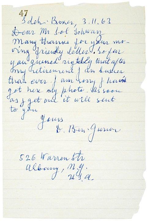 5: Autograph Letter Signed, DAVID BEN-GURION, 1963