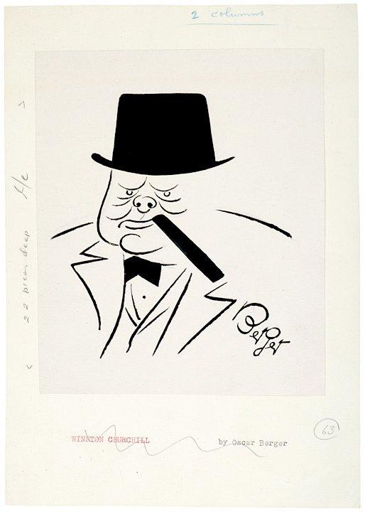 9: Oscar Berger Signed Sketch of Winston Churchill