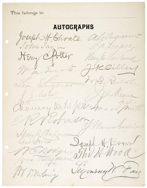 15: c.1880, Printed Autograph Card, 50 signatures