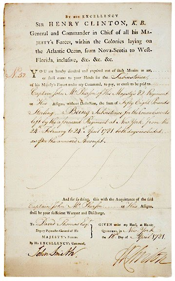 23: HENRY CLINTON, Signed Document 1781