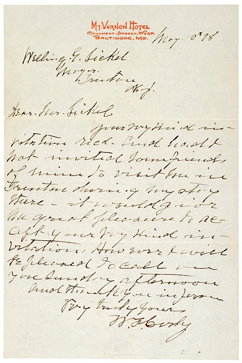 24: WILLIAM F. (BUFFALO BILL) CODY, 1898 Letter
