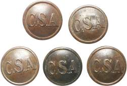 363 Confederate Uniform Buttons Group of Five
