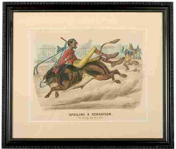 426: 1881, Currier + Ives Print, The Bicycle Boy