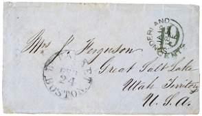 614 1855 Cover To Great Salt Lake Utah Territory