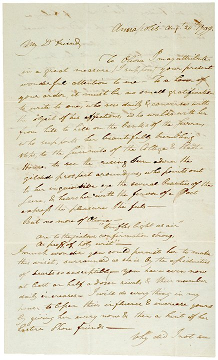 4005: FRANCIS SCOTT KEY, 1799, Letter Containing Poetry