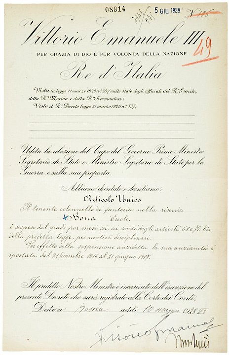 4006: BENITO MUSSOLINI, Official Document Signed