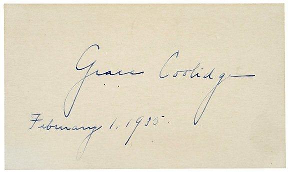 2009: GRACE COOLIDGE Autographed Card