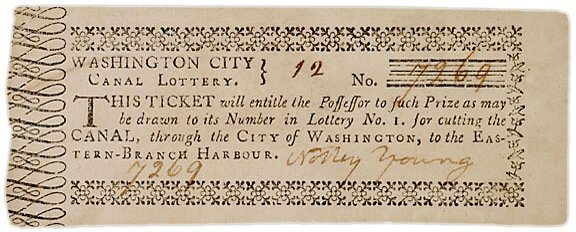 2011: c.1797 GEN. DAVIDSON Signed Canal Lottery Ticket