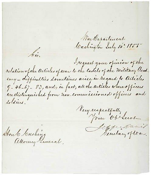 2012: JEFFERSON DAVIS Signed Letter 1855