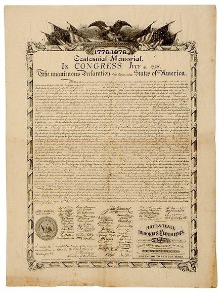 2014: c.1876 Declaration of Independence Broadside