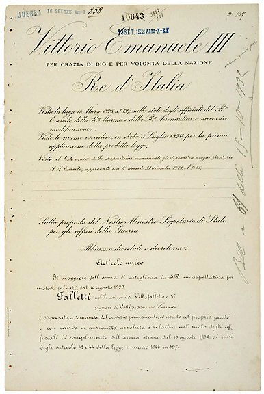 2015: King VICTOR EMMANUEL III Signed Document
