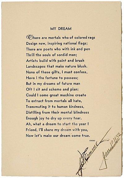 2016: J.T. EMME Signed Poem 1932 - My Dream