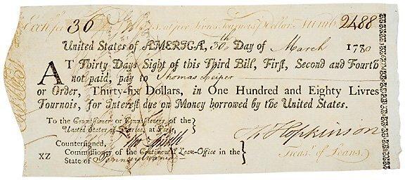 2020: 1780 FRANCIS HOPKINSON Signed Document