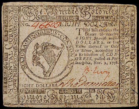 2212: Colonial Currency, Benjamin Levy Signed Note