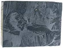 2683: c. 1870, Original Woodblock Printing: Opium Den