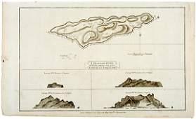 2735 c 1781 Map Captain Cook Voyages