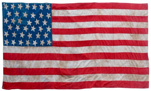 5023: Rare 38-Star American Flag With Embroidered Names