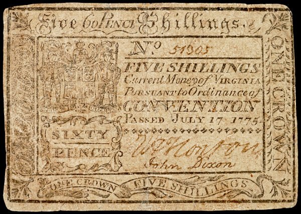 5091: Colonial Currency, VA, July 17, 1775, 5s