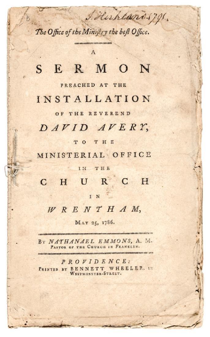 Continental Army Chaplain DAVID AVERY Imprint
