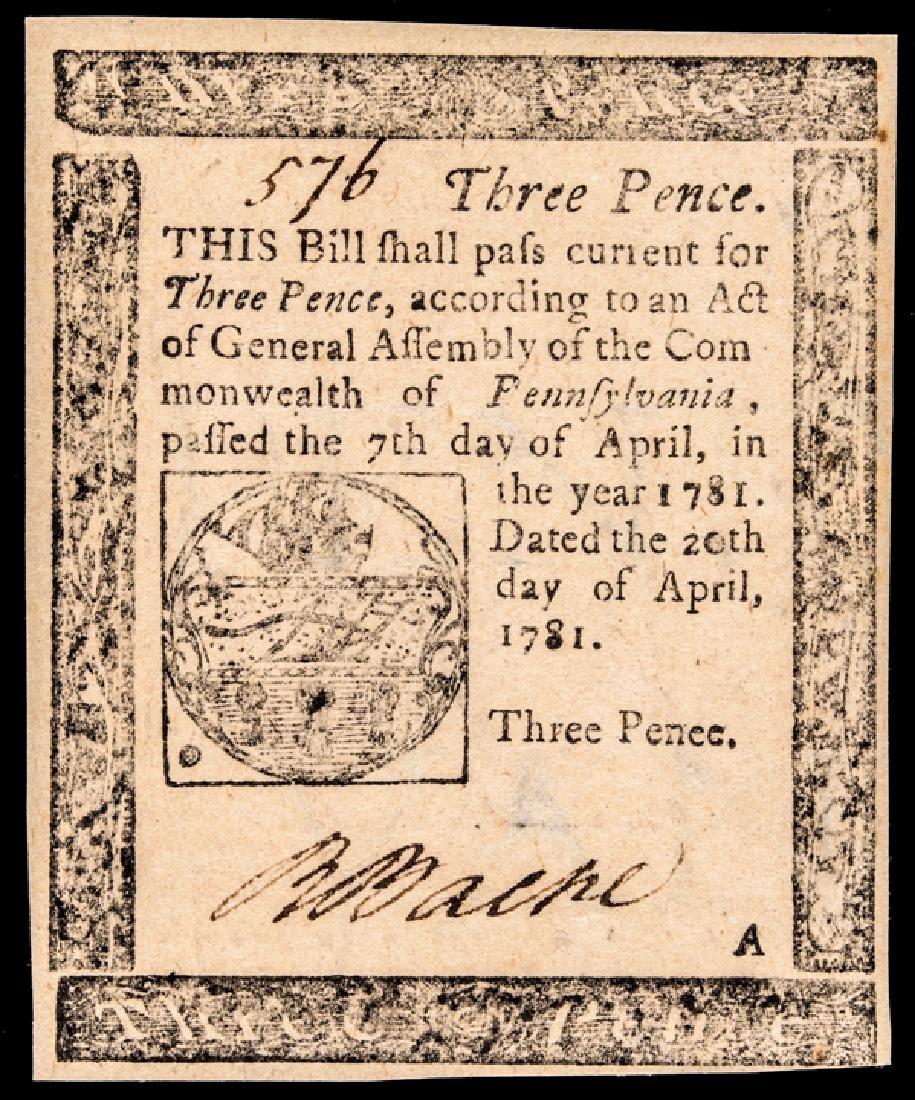 Colonial PA April 20, 1781 3d PCGS Ch. New-63PPQ