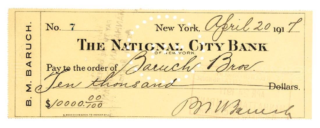 BERNARD M. BARUCH 1917 Autograph Signed Check