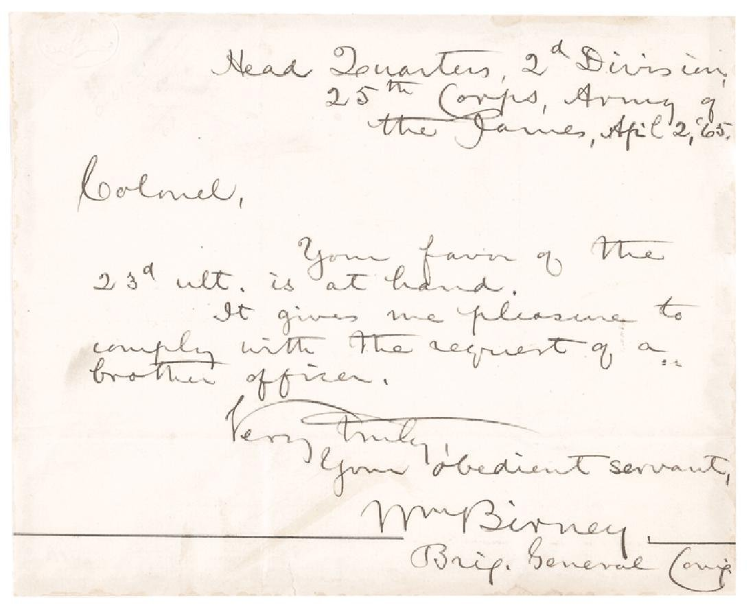1865 General WILLIAM BIRNEY Autographed Letter