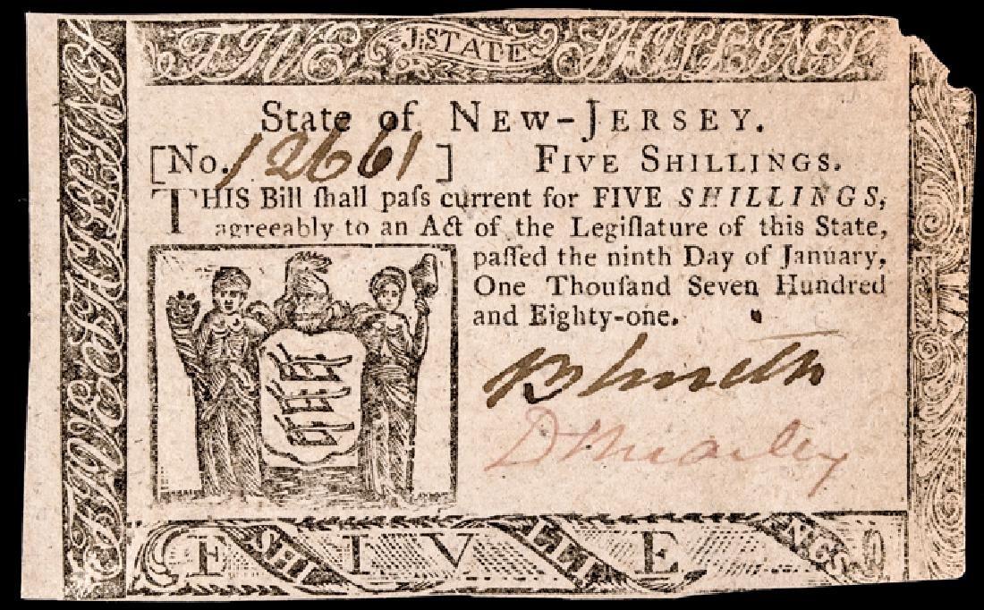 Colonial Currency NJ. Jan 9, 1781 David Brearley