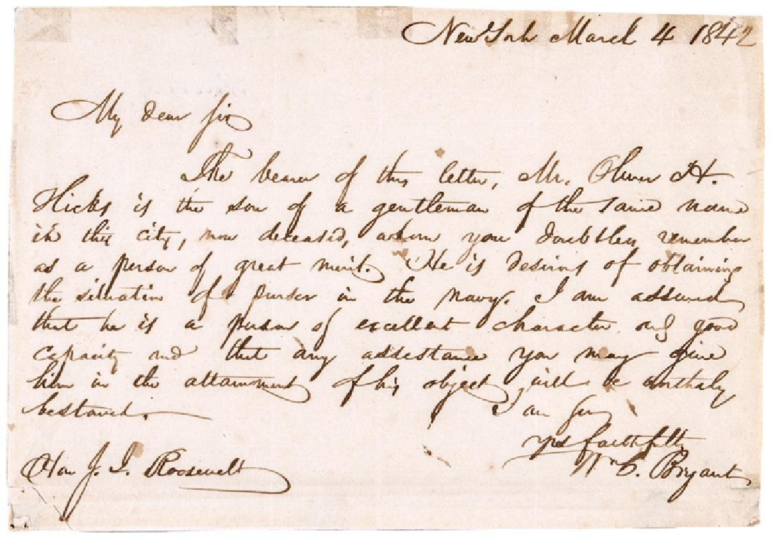 1842 WILLIAM CULLEN BRYANT Autographed Letter