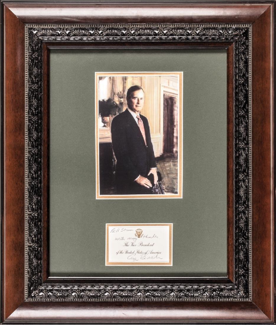 1980s GEORGE HW BUSH Inscribed + Signed VP Card
