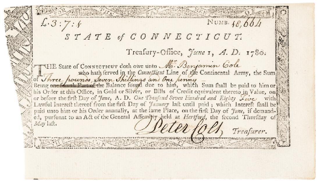 1780 PETER COLT Signed CT Rev. War Service Pay