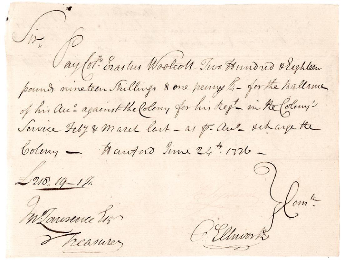 1776 Revolutionary War OLIVER ELLSWORTH Signed