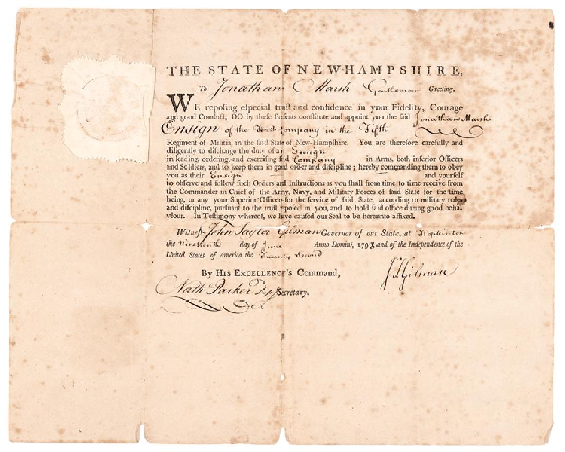 Military Appointment Signed JOHN TAYLOR GILMAN