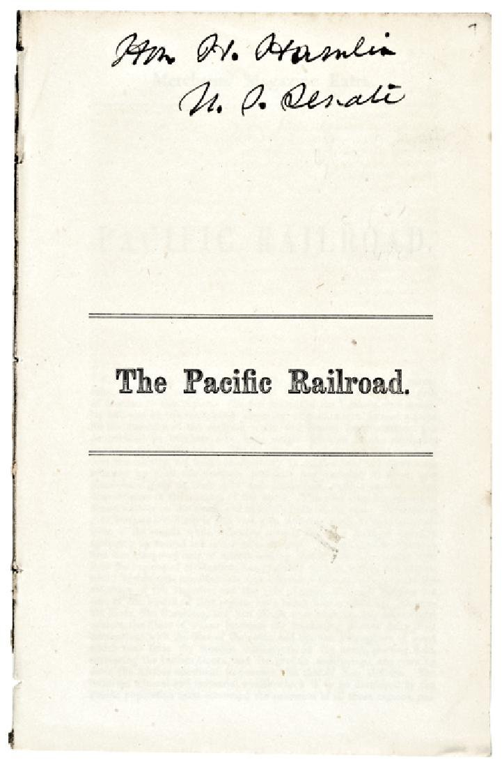 1860 HANNIBAL HAMLIN Signed THE PACIFIC RAILROAD